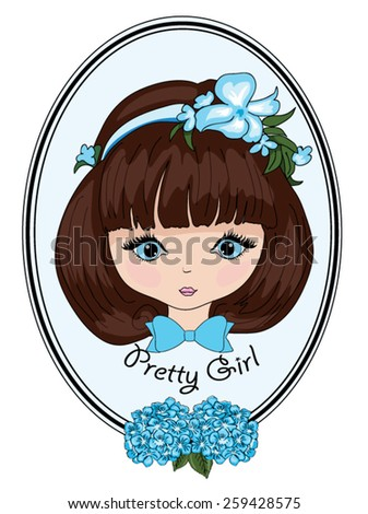 Beautiful romantic girl cute girl T-shirt Graphics illustration princess girl Vector Cute beautiful fashionable girl Pretty girl Girl illustration frame postcard