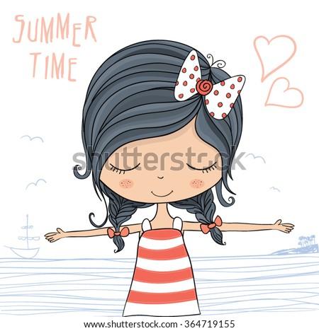 beautiful romantic girl vector
