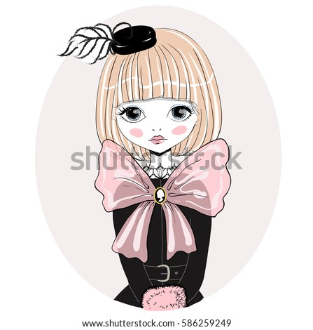 beautiful romantic girl vector