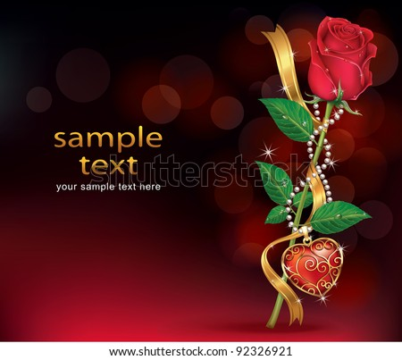 Beautiful Roses With Ribbon and Necklet. Vector illustration.