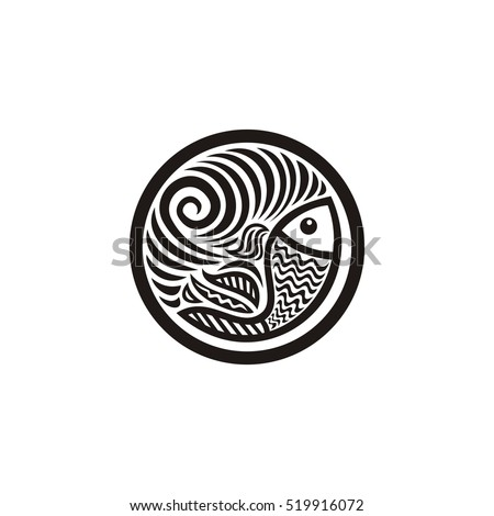 Shutterstock Beautiful round nature decorative element with fish. Vector illustration.