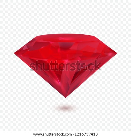 Beautiful ruby isolated on transparent background. Vector illustration.
