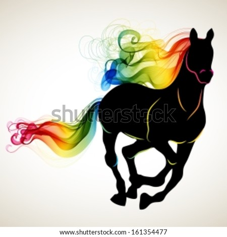 Beautiful running Horse black silhouette with bright color abstract tail and mane, for 2014 New Year design, Vector stock photo