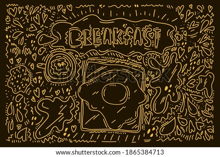Beautiful scrambled egg background in Doodle style. Caption cute Breakfast for a good morning with Omelette, egg, food. Doodle clipart for cafe menu for Breakfast, pan, fried, brunch, hot dish. The Stok fotoğraf ©