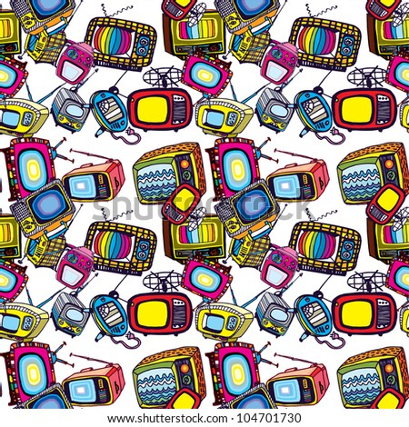 Beautiful Seamless Background of Vintage TVs (vector)