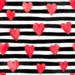 Beautiful seamless background. red watercolor hearts on horizontal ink black and white stripes. design greeting card and invitation of the wedding, birthday, Valentine s Day, mother s day and holiday