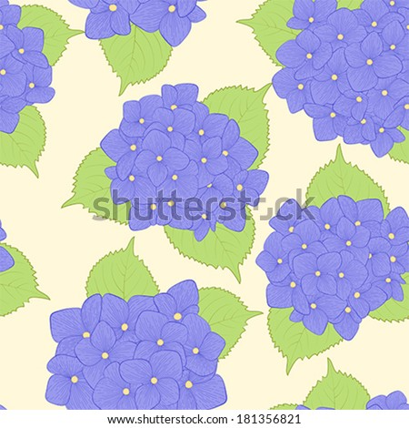 Beautiful seamless background with  flower hydrangea . Hand-drawn contour lines and strokes. Perfect for background greeting cards and invitations to the day of wedding, birthday and Valentine\'s Day