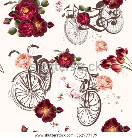 Beautiful seamless background with roses and bikes in vintage style