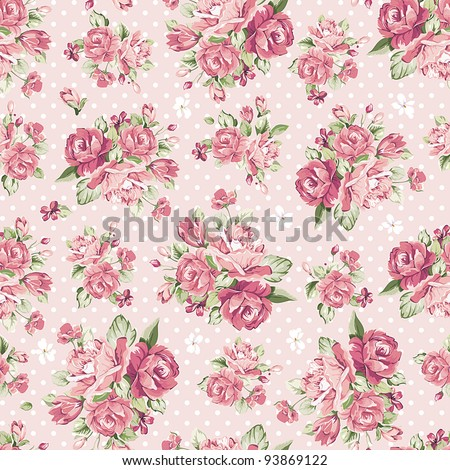 Beautiful Seamless color rose pattern on pink background, vector illustration