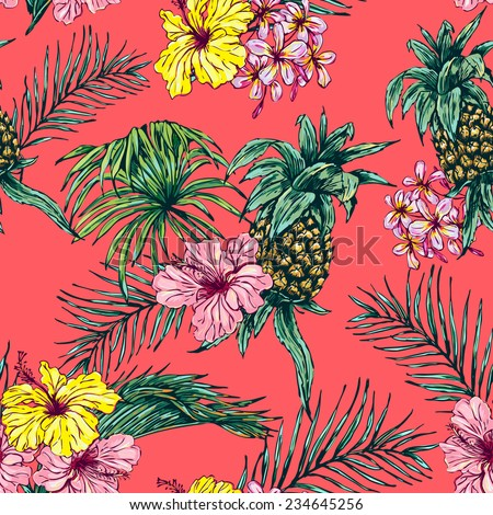 Beautiful seamless floral pattern background Pineapple tropical flowers palm leaves and plants
