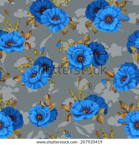 Beautiful seamless floral pattern flower vector illustration Elegance wallpaper with of poppy on floral background Decorative Beautiful vector illustration texture