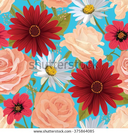 Beautiful  seamless flower pattern with roses, gerbera and other flowers. Bright illustration, can be used as creating card, invitation card for wedding, birthday and other holiday. EPS 10 vector.