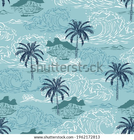 Beautiful seamless pattern island ,Big wave on vintage ocean blue background. Landscape with palm trees,beach ,mountain and ocean vector hand drawn style.