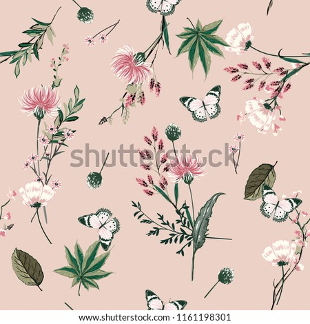 Beautiful seamless pattern vector blooming botanical in many kind of plants design for fashion, fabric, wallpaper, and all prints on pink nude background color