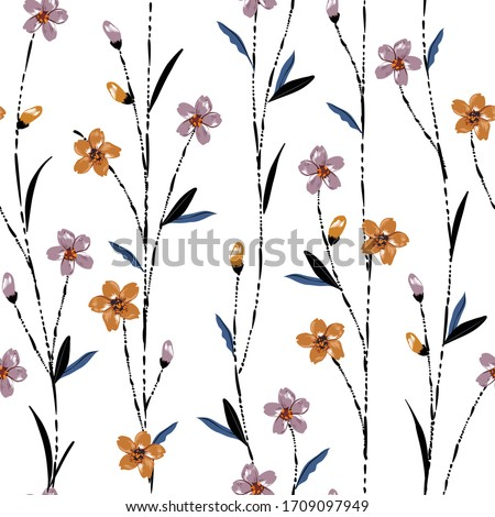 Beautiful seamless pattern vector with meadow flowers with hand brush line stem, Liberty colorful floral background.pattern for fashion,fabric and all prints on white background