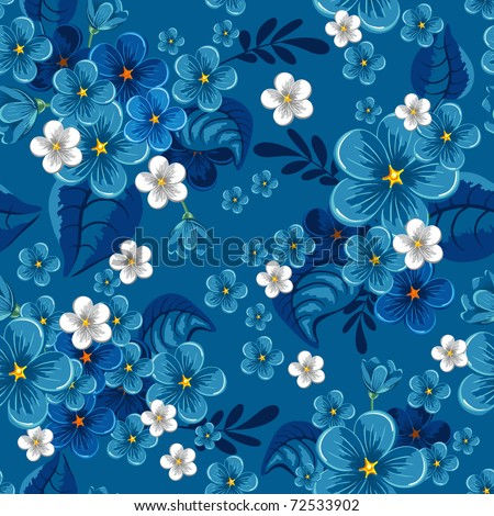 Beautiful seamless pattern with forget-me-not on blue background, vector illustration