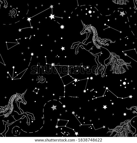 Beautiful seamless pattern with galaxy and white contour unicorns on black background. Endless texture of cosmos, constellations for your design. Vector illustration in white, grey and black colors