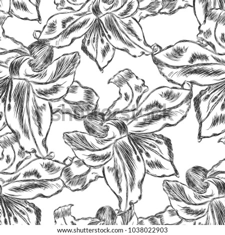 Beautiful  seamless pattern with Lily flowers . Vector illustration.