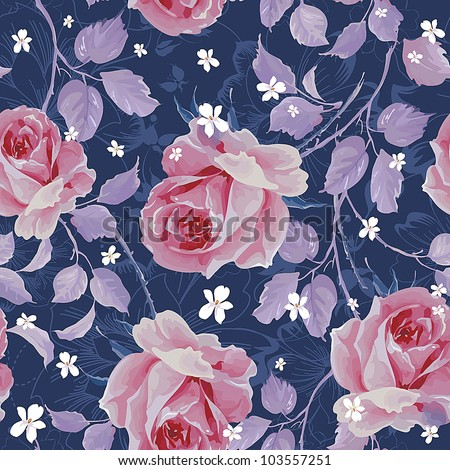 Beautiful seamless pattern with of pink roses on dark blue background. Elegance floral vector illustration