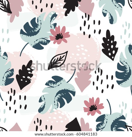 Beautiful seamless pattern with spring flowers. Bright illustration, can be used for wrapping paper, invitation card for wedding,wallpaper and textile. Vector illustration