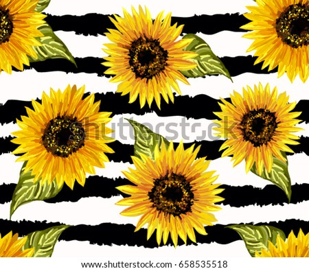Beautiful Seamless Pattern With Sunflowers On Abstract Background Collection Decorative Floral Design Elements Vintage