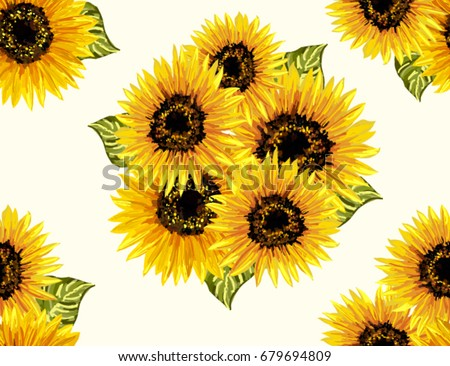 Beautiful Seamless Pattern With Sunflowers On White Background Collection Decorative Floral Design Elements Vintage