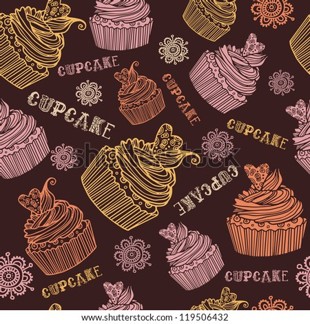 Beautiful  seamless pink background pattern set with various delicious cupcake - stock vector