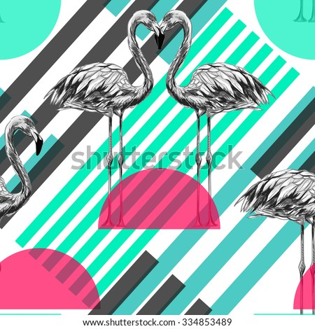 Beautiful seamless vector fashionable pattern background with flamingos, exotic birds. Abstract striped geometric texture