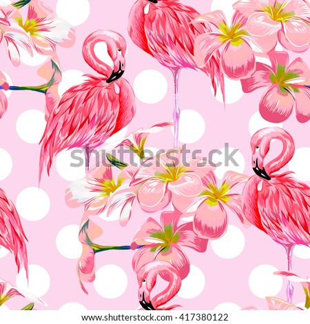 Beautiful seamless vector floral pattern background with pink flamingos, tropical flowers. Abstract geometric texture, polka dot