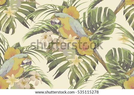 Beautiful seamless vector floral pattern background with tropical flowers, hibiscus, palm leaves, jungle leaf, monstera, parrots, exotic birds in vintage style