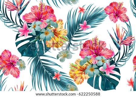 Beautiful seamless vector floral pattern, spring summer background with tropical flowers, palm leaves, jungle leaf, hibiscus, bird of paradise flower. Exotic wallpaper, Hawaiian style #622250588