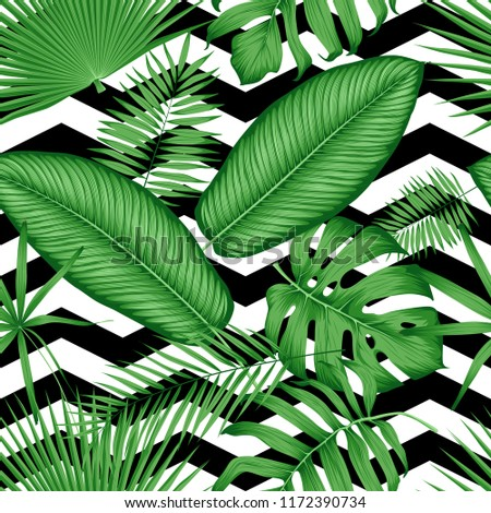 Beautiful seamless vector floral pattern tropical jungle leaves on a geometric background