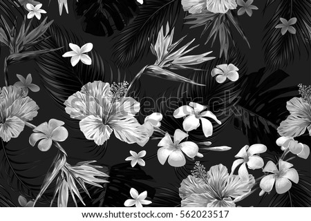 Beautiful seamless vector floral pattern with tropical flowers, palm leaves, jungle leaf, hibiscus, bird of paradise flower. Black and white wallpaper. Tropic monochrome background