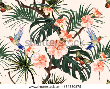 Beautiful seamless vector floral summer pattern background with hummingbird, butterflies, palm leaves, hibiscus. Perfect for wallpapers, web page backgrounds, surface textures, textile.
