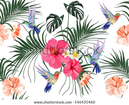 Beautiful seamless vector floral summer pattern background with hummingbird, palm leaves, hibiscus, tropical flowers. Perfect for wallpapers, web page backgrounds, surface textures, textile.