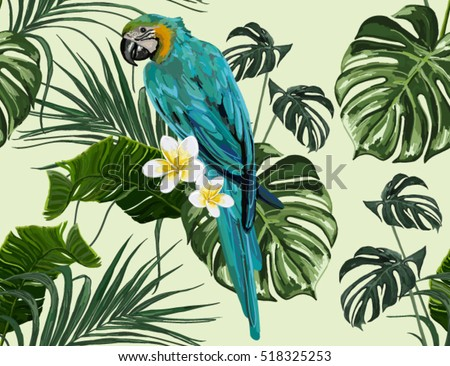 Beautiful seamless vector floral summer pattern background with parrot, palm leaves, plumeria. Perfect for wallpapers, web page backgrounds, surface textures, textile.