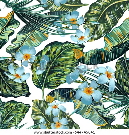 Beautiful seamless vector floral summer pattern background with tropical flowers, palm leaves, jungle leaf, exotic botanical print