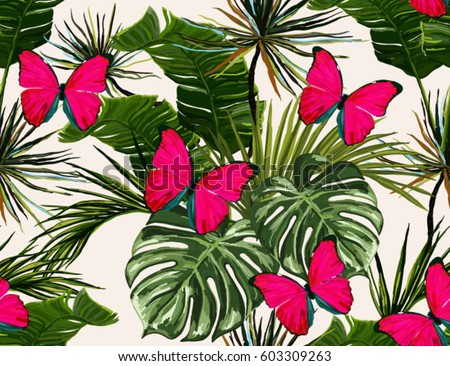 Beautiful seamless vector floral summer pattern background with tropical palm leaves and butterflies. Perfect for wallpapers, web page backgrounds, surface textures, textile.