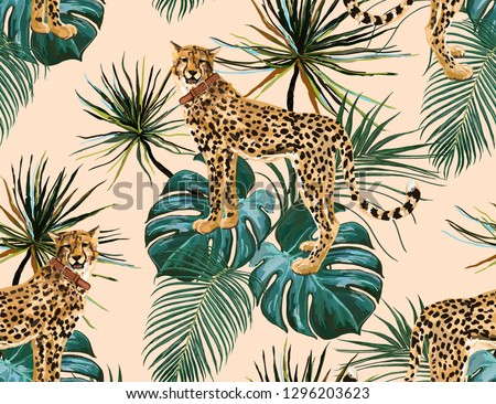 Beautiful seamless vector floral summer pattern background with tropical palm leaves and leopard. Perfect for wallpapers, web page backgrounds, surface textures, textile.