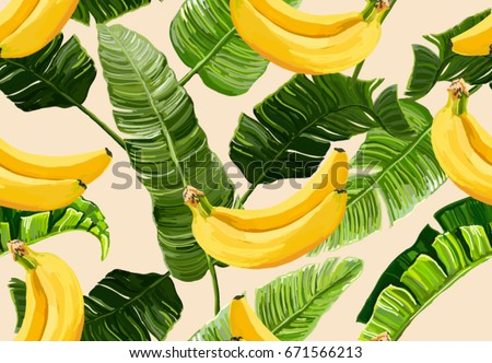 Beautiful seamless vector floral summer pattern with  banana leaves and bananas. Perfect for wallpapers, web page backgrounds, surface textures, textile.