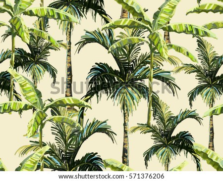 Beautiful seamless vector floral summer pattern with banana palm tree, coconut palm tree. Perfect for wallpapers, web page backgrounds, surface textures, textile.