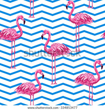 Beautiful seamless vector floral tropical pattern background with pink flamingos. Abstract chevrons geometric texture - stock vector