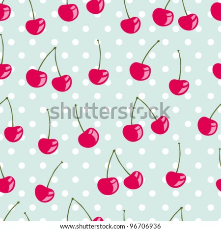 Beautiful seamless vector pattern with cherries