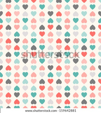 Beautiful seamless vector pattern with hearts. Can be used for wallpaper, pattern fills, web page background,surface textures