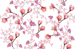 Beautiful seamless vector pattern with japanese flowers, paradise flowers, magnolias, spring wallpaper, branches. Perfect for wallpapers, web page backgrounds, surface textures, textile.