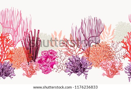 Beautiful seamless vector tropical pattern with corals. Perfect for wallpapers, web page backgrounds, surface textures, textile.