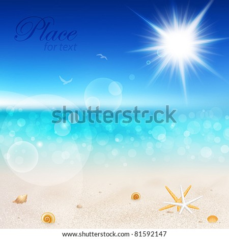 Beautiful seaside view on sunny day with sand and shells.