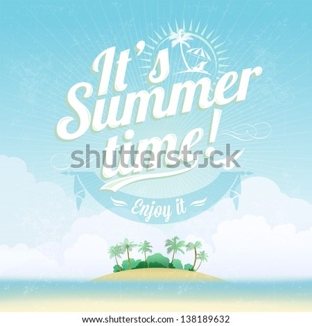 Shutterstock Beautiful Seaside View Poster. Vector background. With Typography. It's Summer time!