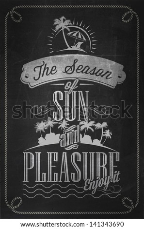 Beautiful Seaside View Poster With Typography Vector Background On Chalkboard