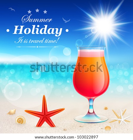 Beautiful seaside view with cocktail. Summer holiday vector background.